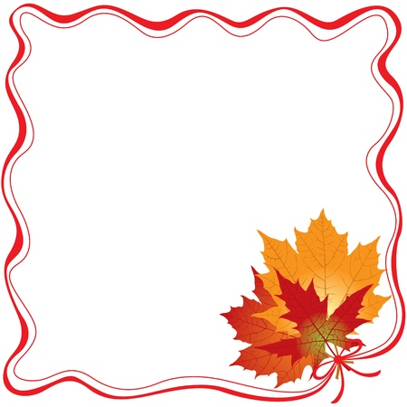 The frame of the red ribbon, tie a bunch of autumn maple leaves 免版税图像 - 14958204