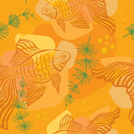 crucian: Seamless pattern with gold fish, algae and bubbles Illustration