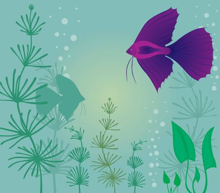 Aquarium background with fish and algae Stock Vector - 14989636