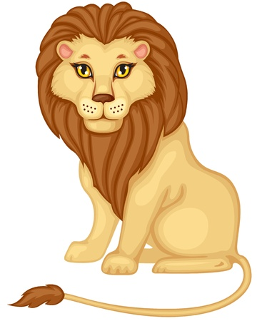Cartoon color image of a seated lion Vector