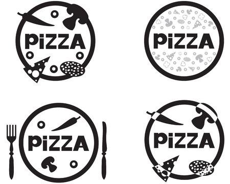 Black and white logo Pizzeria Vector