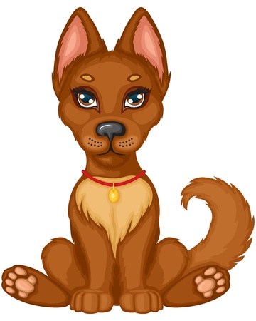 Cute brown puppy sits and wags his tail Vector