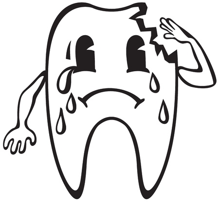 dental caries: Cartoon dent with caries crying