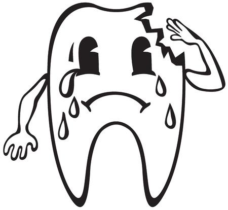 karies: Tecknad buckla med karies gråter