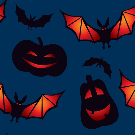 Halloween  seamless pattern with pumpkins and vampires on a dark blue background Vector