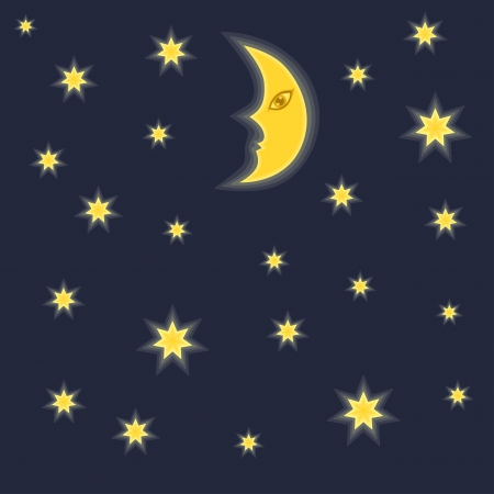 star cartoon: Night sky background with moon and stars