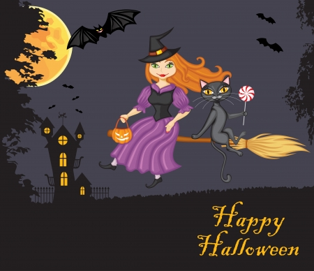 Witch and a cat flying on a broom against the night sky, the terrible home and vampires Vector
