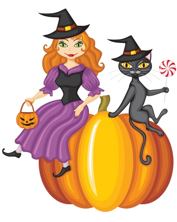 Cute redhead witch with a pumpkin-lantern and a black cat with candy in the paw sitting on a pumpkin Vector