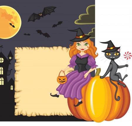 Congratulation on Halloween with a witch and a cat sitting on a pumpkin on the background night scenery with vampires Vector