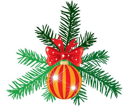 Fir branches, decorated ball with red bow Stock Vector - 15307522