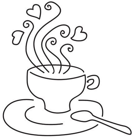 A cup with a hot drink from it too pairs with hearts