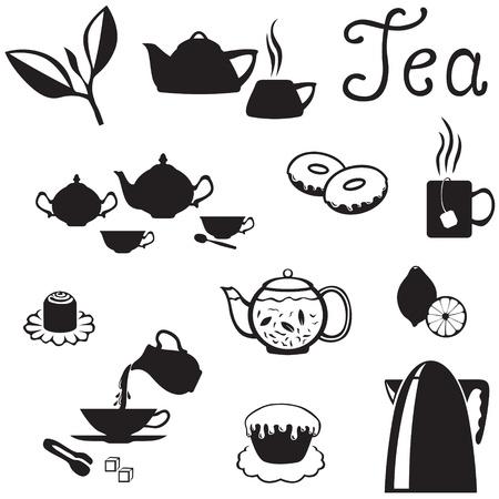 logos restaurantes: Conjunto de im�genes de accesorios del t�, platos y dulces Vectores