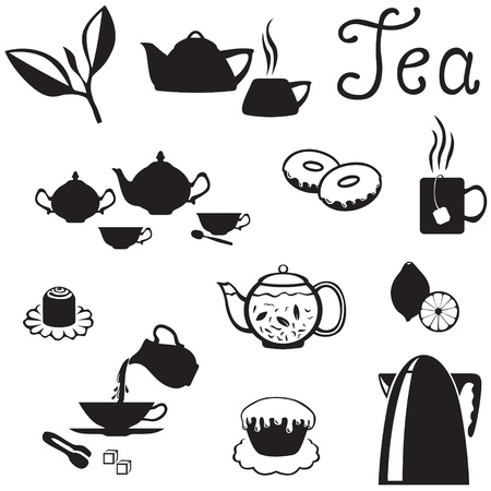 Set of images of tea accessories, dishes and sweets Illustration