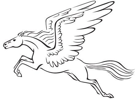 Black and white line art image of a winged horse Pegasus Vector