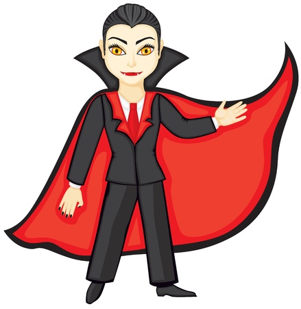 animation teenagers: Vampire in a suit and a red cloak