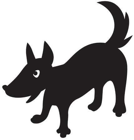 dog nose: Funny cartoon silhouette of a dog Illustration