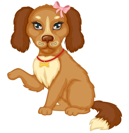 Cute little brown spotted dog sits and holds out his paw Stock Vector - 15534747