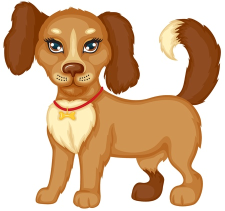Cute little brown spotted dog stands and wags its tail Vector
