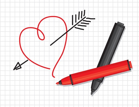 pierced: Draw a heart pierced by an arrow, and two black and red markers Illustration