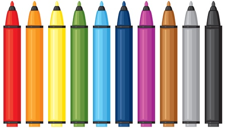 Set of colored felt-tip pens Illustration