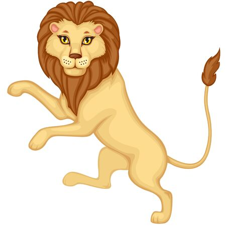 Cartoon heraldic lion is on his hind legs Vector