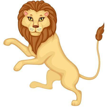 hind: Cartoon heraldic lion is on his hind legs