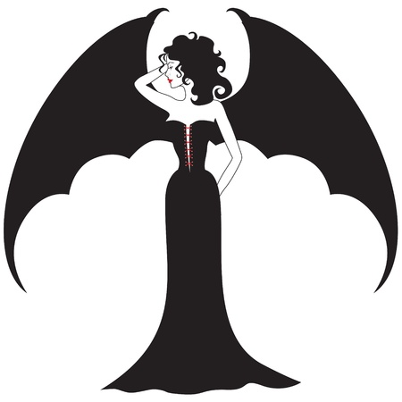 Lady vampire with spread wings like a bat in a black dress