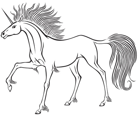Graceful unicorn with fluffy mane and tail Vector