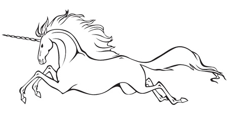 Graceful unicorn with fluffy mane and tail