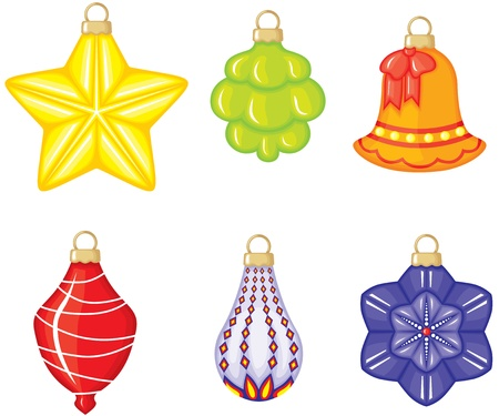 Colorful Christmas tree decorations of different forms Stock Vector - 15684853
