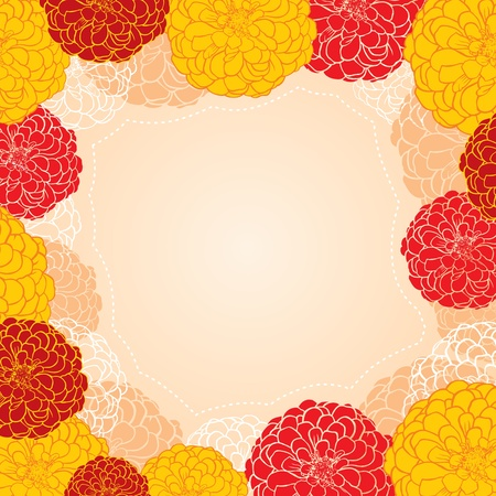 zinnia: Frame of colorful and contour zinnia flowers