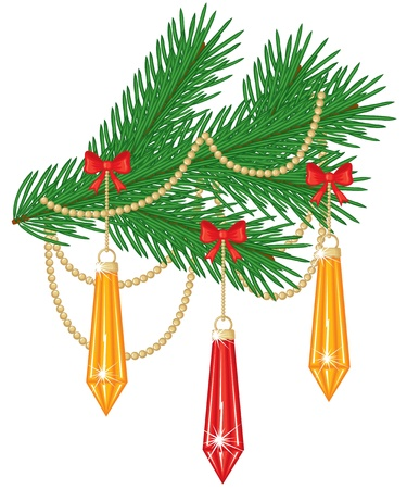 Fir branch decorated with toys, bows and garland Stock Vector - 15715283