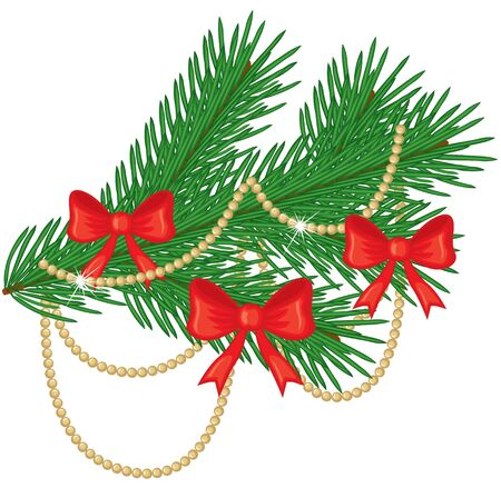Fir branch decorated with red bows and golden beads Stock Vector - 15715282