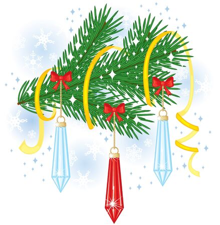 Fir branch decorated with toys, bows and streamer Stock Vector - 15715284