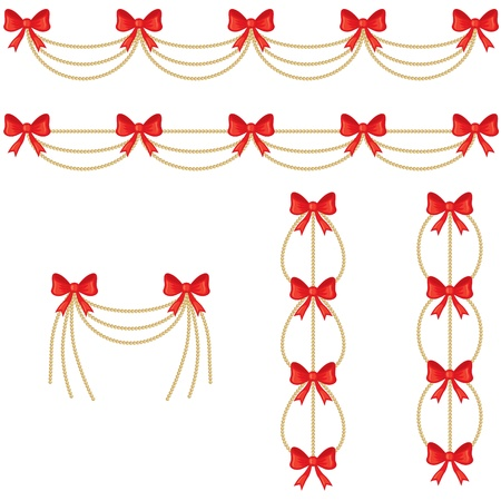 chaplet: Garlands of gold beads with a red bow