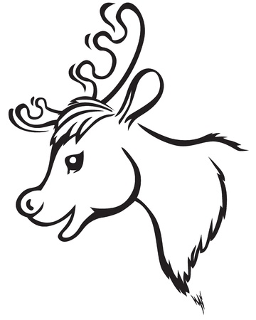 Contour image of cartoon muzzle reindeer Vector