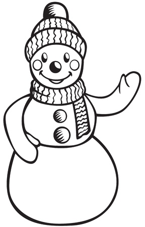Contour image of a smiling snowman in hat and scarf Stock Vector - 15916611