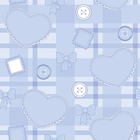 Seamless violet-blue pattern with hearts, buttons and patches on the checkered field Stock Vector - 16003935