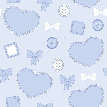 ruffles: Seamless violet-blue pattern with hearts, buttons and patches Illustration