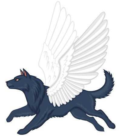 running nose: Cartoon mythical winged dog Simuran