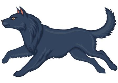 running nose: Cartoon shaggy gray dog runs