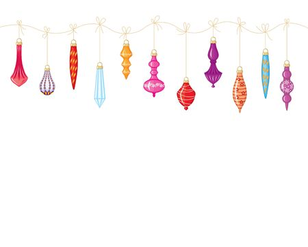 Christmas garland of colorful toys hanging on a string Stock Vector - 16103325