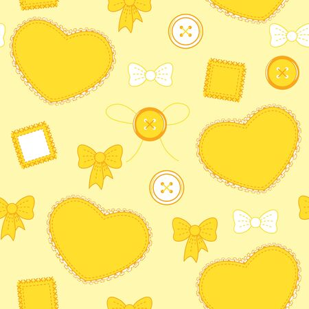 ruffles: Seamless orange-yellow pattern with hearts, buttons and patches