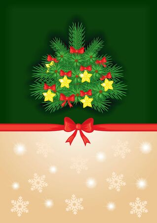 Congratulatory background with a red bow and decorated fir tree Vector