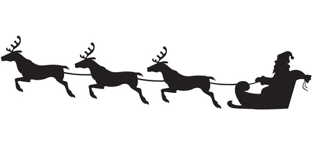 santas sleigh: Silhouette of Santa Claus sitting in a sleigh, reindeer who pull Illustration