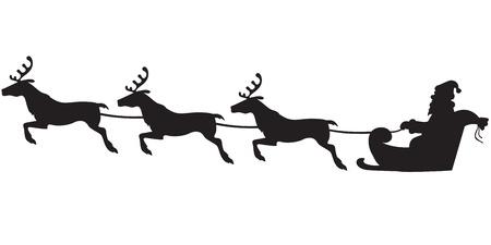 papa noel trineo: Silueta de Santa Claus sentado en un trineo, los renos que tiran