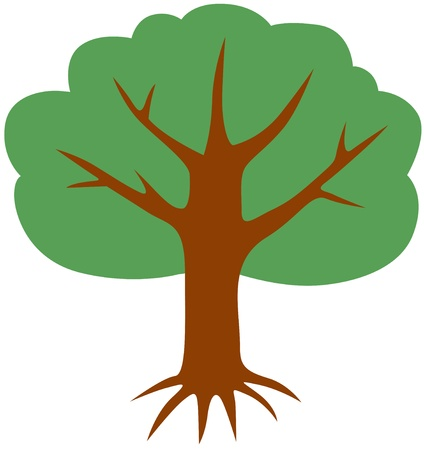 A big tree with a spreading crown and roots Vector