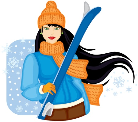 Girl in orange warm hat and scarf holding skis Vector