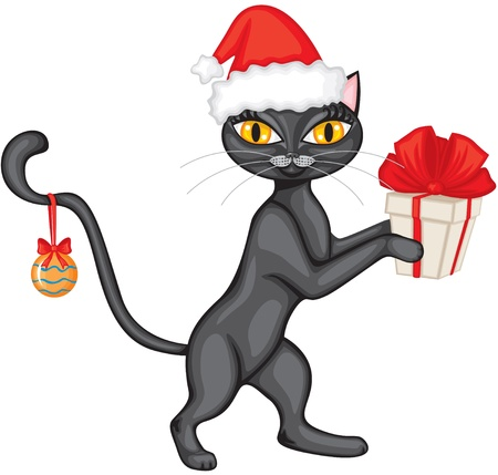 Cat in the red cap is a gift tied with red ribbon Vector