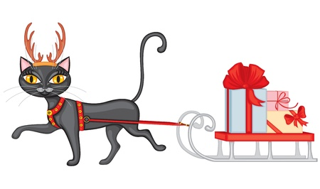 Cat dressed as a reindeer sleigh brings with gifts